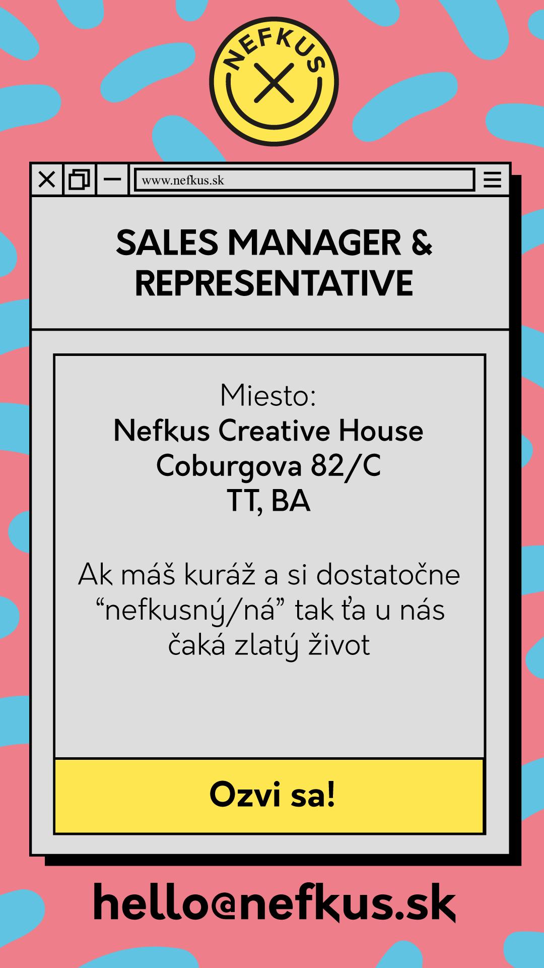 Pracovná ponuka na sales manažéra